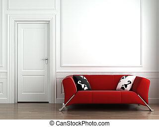 fal, belső, white piros, dívány