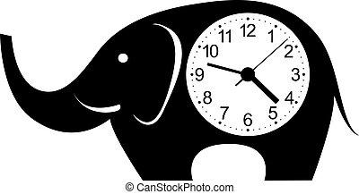 fal, csinos, elefánt, óra, sticker.
