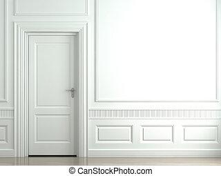 fal, fehér, ajtó, klasszikus