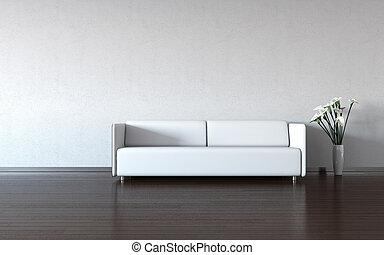 fal, fehér, dívány, váza, minimalism: