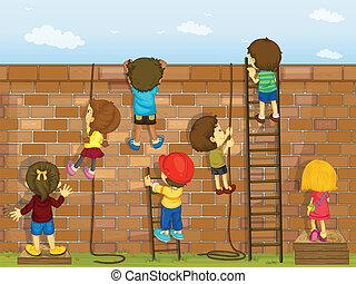 fal, mászó, gyerekek