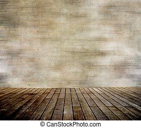 fal, paneled, erdő, grunge, emelet