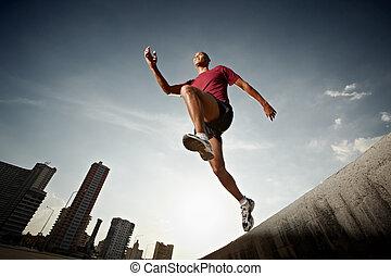 fal, spanyol, futás, ugrás, ember