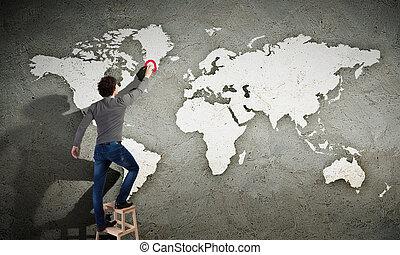 fal, térkép, ember, fiatal, rajz