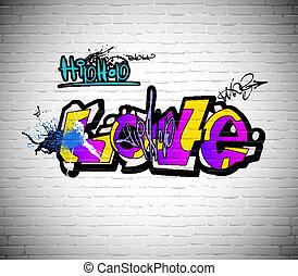 fal, urban graffiti, háttér, művészet