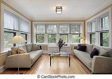 fal, windows, szoba, család