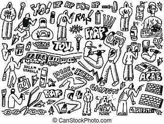 falfirkálás, -, állhatatos, megüt, komló, doodles, csípő
