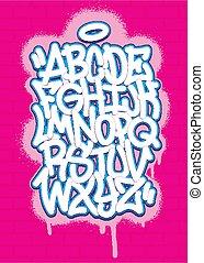 falfirkálás, abc, festék, háttér., színes, vektor, betűtípus, ábra, gally