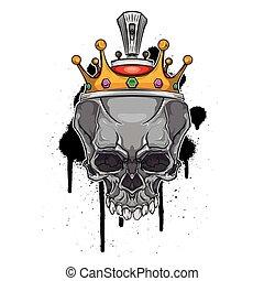 falfirkálás, fejtető, háttér, koponya