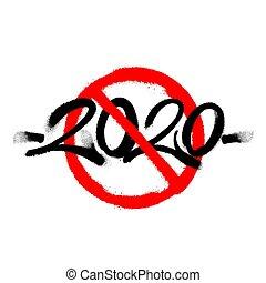 falfirkálás, permetezett, felett, illustration., white., vektor, kereszt, ki, 2020, fekete, overspray, címke