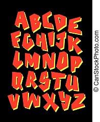 falfirkálás, vektor, editable, font., abc