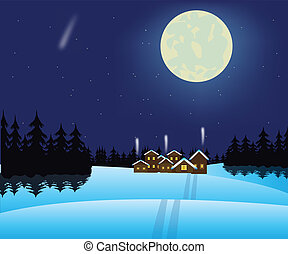 falu, erdő, tél, éjszaka