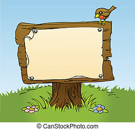 falusias, fából való, aláír