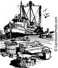 falusias, halászhajó