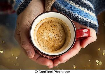 falusias, kávécserje, nő, csésze, kényelmes, csésze, tető, bukás, élet, ősz, meleg, hatalom kezezés, kilátás, mozdulatlan