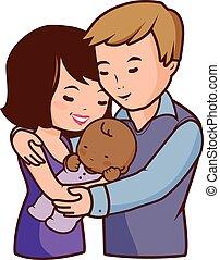 family., atya, ábra, -eik, vektor, örökbe fogadott, anya, boldog, baby.