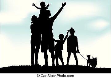 family., vektor, árnykép