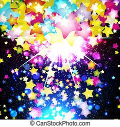 fantasztikus, illustration., színes, repülés, háttér., fényes, vektor, tervezés, csillaggal díszít