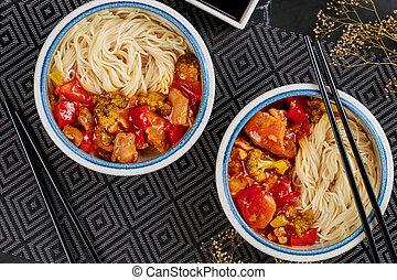 fanyar, kellemes, növényi, dish., sauce., tökfej, ázsiai