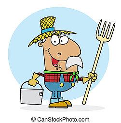 farmer, boldog, spanyol
