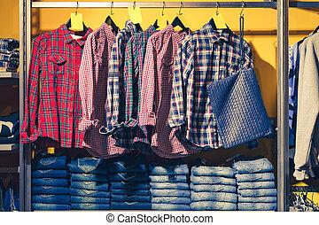farmeranyag, különböző, clothes., öltözék, fából való, befest, hangers., mód, válogatott