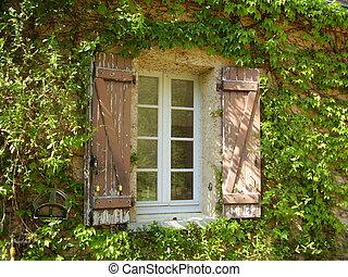 farmház, ablak, francia, zsalu, &