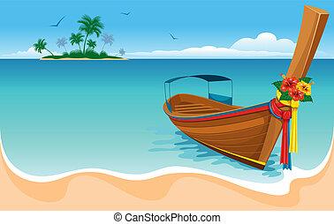 farok, hosszú, csónakázik