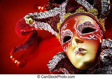 farsang, felett, maszk, háttér., választékos, piros
