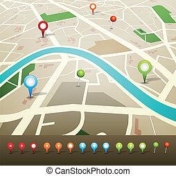 faszegek, térkép, gps, utca, ikonok
