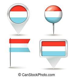 faszegek, térkép, lobogó, luxemburg