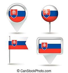 faszegek, térkép, lobogó, slovakia