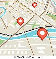 faszegek, város, elvont, piros, térkép