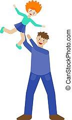 fatherhood., fun., illustration., idő, design., vektor, háttér., lány, apuka, family., együtt, fehér, jó, együtt., csinos, modern, gyermekkor, boldog, ábra, bír, játék
