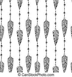 feathe, seamless, struktúra, fekete, dísztárgyak, white madár