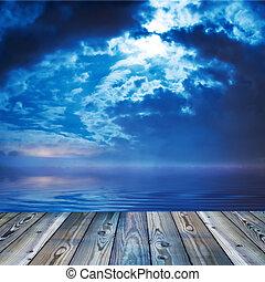 fedélzet, óceáni látkép