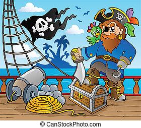 fedélzet, hajó, 2, téma, kalóz
