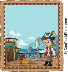 fedélzet, kalóz, topic, 2, hajó, pergament