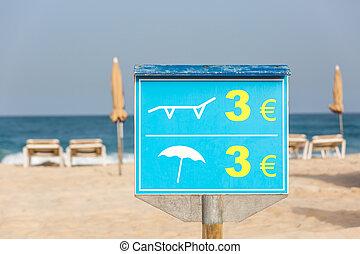 fedélzet szék, ár, aláír, sunshades, tengerpart