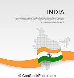 fedő, india, indian lobogó, lakás, szalag, háttér., befest, design., booklet., hullámos, india., nemzeti, állam, fehér, ügy, hazafias, transzparens, poster., mózesi, térkép, vektor
