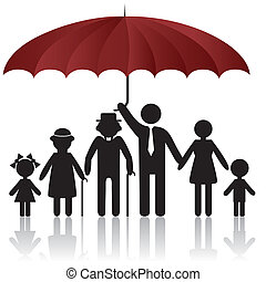 fedő, körvonal, esernyő, család, alatt