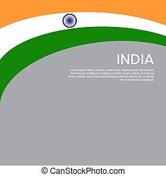 fedő, tervezés, flyer., ünnep, kreatív, vektor, hazafias, design., india., hullámzás, háromszínű, lobogó, háttér, állam, elvont, poster., nemzeti, kártya, indiai