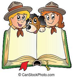 federít, könyv, kutya, kinyitott, két