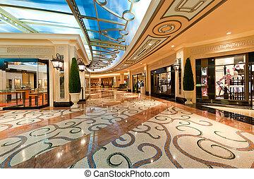 fedett sétány, modern, bevásárlás, fényűzés