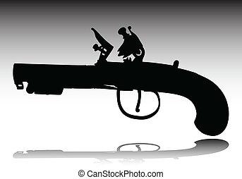 fegyver, körvonal, vektor, öreg