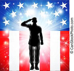 fegyveres, bennünket, tiszteleg, erőltet, lobogó, hadi, katona, árnykép