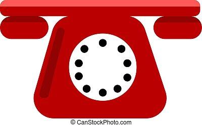 fehér, ábra, piros telefon, vektor, háttér.