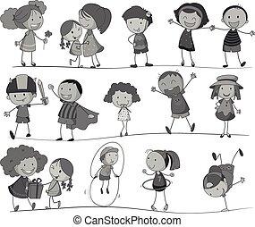 fehér, állhatatos, fekete, gyerekek