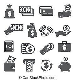 fehér, állhatatos, ikonok, háttér, pénz