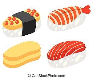 fehér, állhatatos, sushi, háttér