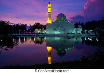 fehér, úszó, mecset